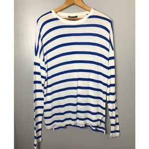 VINCE Blue and White Striped Long Sleeve Top
